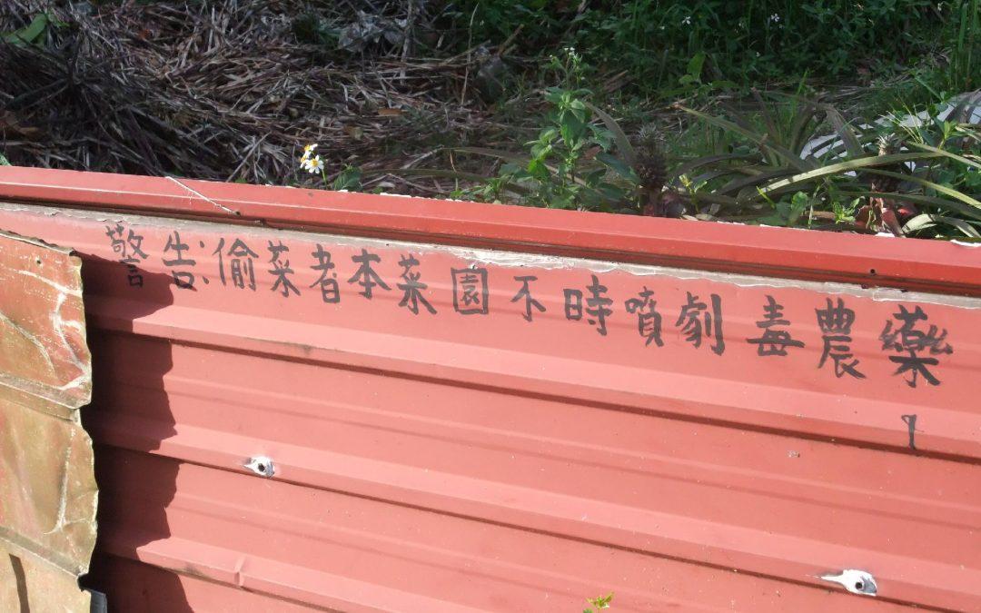 警告:偷菜者本菜園不時噴灑劇毒農藥